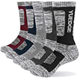 YUEDGE Men's 5 Pairs Wicking Breathable Cushion Comfortable Casual Crew Socks Multi Performance Trekking Walking Athletic Soc