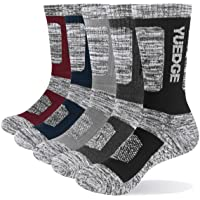 YUEDGE Men's 5 Pairs Wicking Breathable Cushion Comfortable Casual Crew Socks Multi Performance Walking Athletic Socks