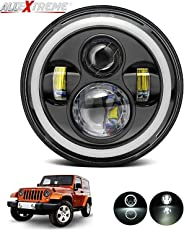 AllExtreme EX989 7 Inch 4 LED Full Ring Headlight with Dual DRL Color (75W, Chrome)