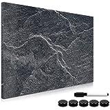 Navaris Memo Board Lavagna Magnetica 40x60cm - Lavagnetta Scrivibile Cancellabile con 1x Pennarello e 5x Calamite - Bacheca Design Black Stone