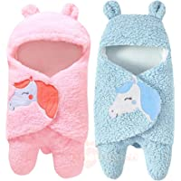 MY NEWBORN Baby Blanket Wrapper Premium Unicorn Design Pink Blue -Combo of 2