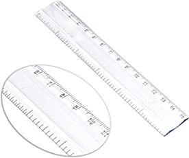 SNDIA 5 Pack Plastic Ruler Scale, Transparent Straight Measuring Tool For School Kids & Office (6 Inch/15 cm)