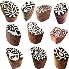 Mehndi Print Blocks Handcrafted Small Paisley Pattern Wooden Stamps (Set of 10)