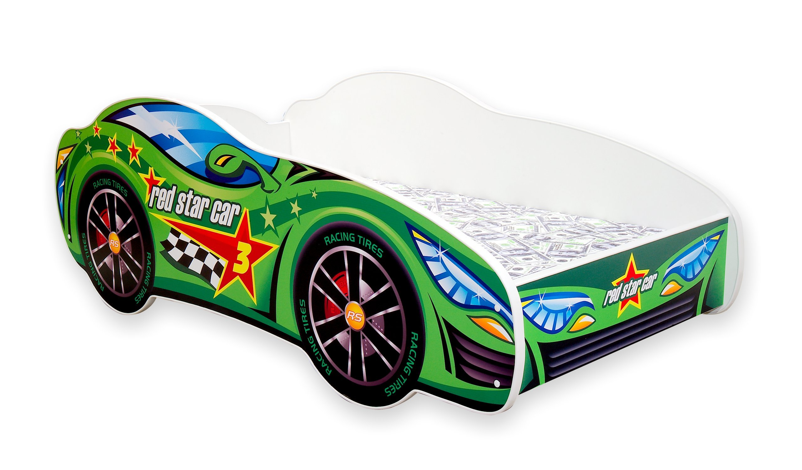 Toddler Boy Bed Kids Bed Junior Children's Single Car Bed with Mattress Included - Racing Car (Green, 160x80) Wonderhome24