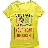 lepni.me Camiseta Mujer Personalizado con Cualquier Año Regalo Vintage Todas Las Piezas Originales