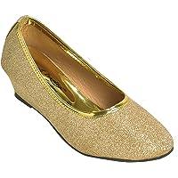 Alert India Sparkle Jeans Made Wedge Belley for Girls' Kids-Golden   Heel Sandal for Girl Kids
