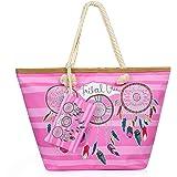 Weinsamkeit Bolso de Playa Grande, Bolsa de Playa para Mujer, Totalizador de Lona Shopper Bolsa de Hombro, Impermeable con Cr