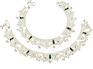 Fashion World Latest Design Anklet 402 with Multi-Colour Meena & Traditional Jhaalar for Girls & Women