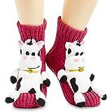 CityComfort Calze A Pantofola Da Donna Animali, Calzini Antiscivolo Donna Super morbido, Calde e Comode Calze di Natale Model