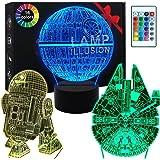 Lampe 3D Star Wars -Illusion Veilleuse de Cadeaux Star War - 3 motifs, 1 base et 1 télécommande - Star Wars R2-D2 / Etoile de