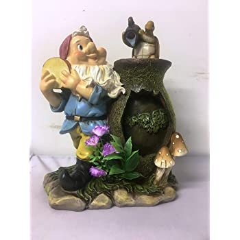 F Elegant Homes and Gardens INDOOR WATER FEATURE OR OUTDOOR GNOME WITH TURTLE ORNAMENT