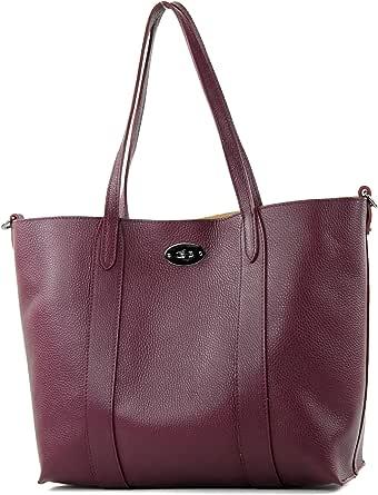 modamoda de - T187 - ital. Shopper DIN A4 Leder Damentasche mit Innentasche