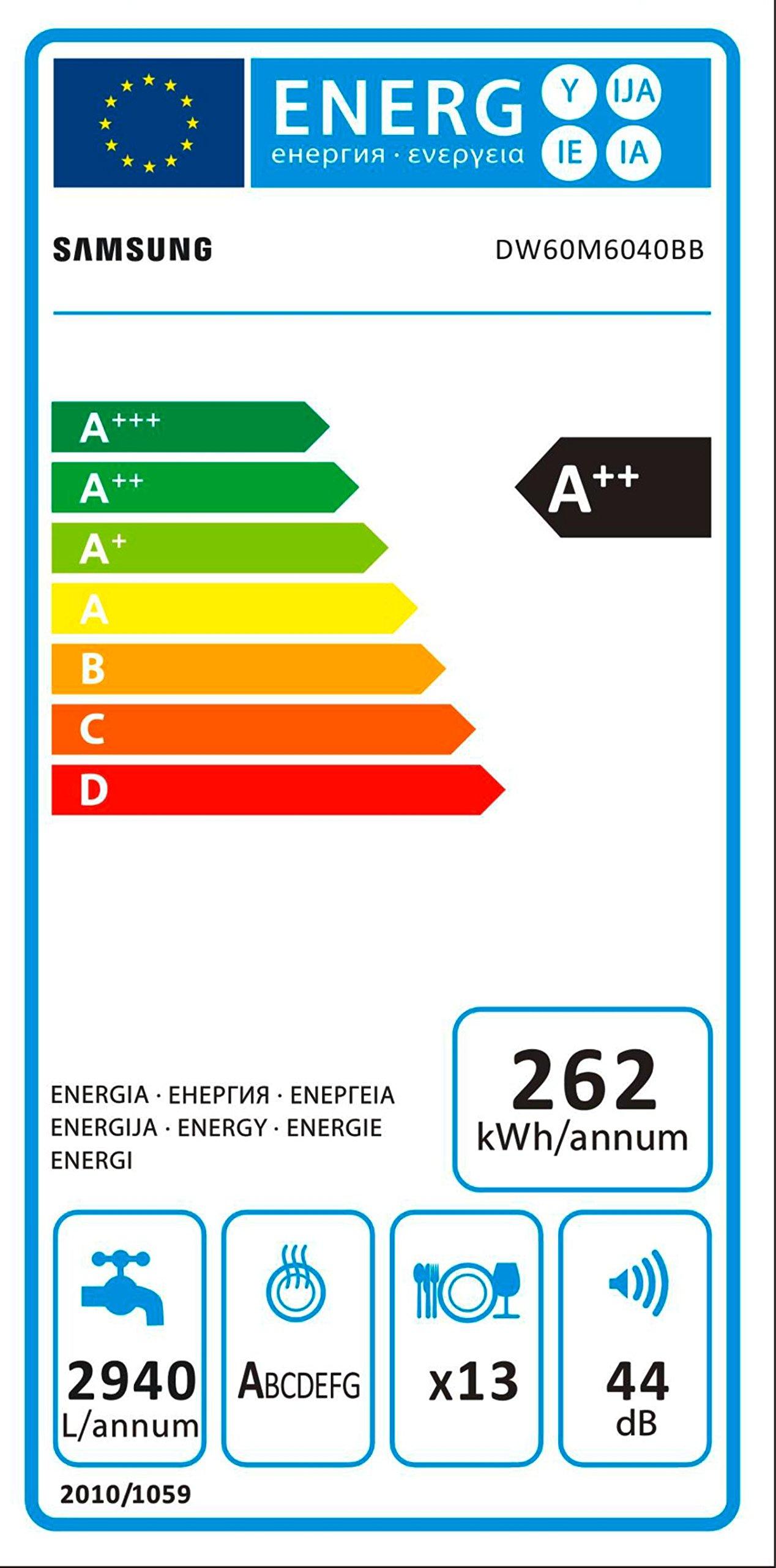 Samsung DW5500 DW60M6040BB/EG Geschirrspüler Vollintegriert/A++/262 kWh/Jahr/2940 L/jahr/Express 60 Minuten/Hygiene…