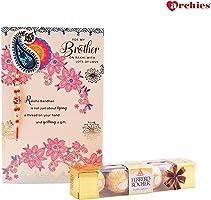 Archies Rakhi Card with Roli Tika and Ferrero Rocher Chocolate