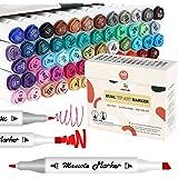 Mancola 60 Couleurs Feutres Coloriage Adulte, Feutres a Alcool Art Croquis Stylos Marker, marqueurs et surligneurs,Pour enfan