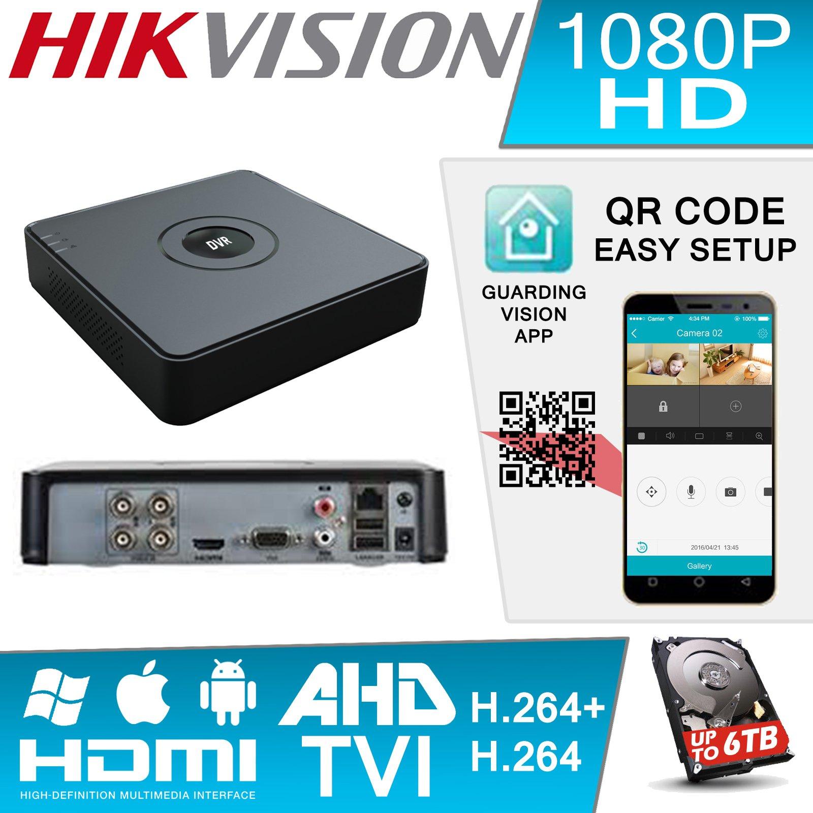 Hiwatch by Hikvision DVR-104G-F1 4 Ch Turbo HD Video 2MP 1080P TVI AHD CCTV
