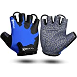 KONVINIT Half Finger Cycling Padded Gloves Breathable, Fingerless Bike Gloves with Anti-Slip Grip for MTB, Road Cycling, Gym,
