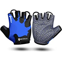 KONVINIT Half Finger Cycling Padded Gloves Breathable, Fingerless Bike Gloves with Anti-Slip Grip for MTB, Road Cycling…