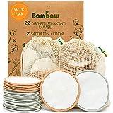 Dischetti struccanti riutilizzabili in cotone Bambaw con due sacchettini per il lavaggio e la conservazione - Pack da 22 disc