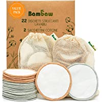 Dischetti struccanti riutilizzabili in cotone Bambaw con due sacchettini per il lavaggio e la conservazione - Pack da 22…