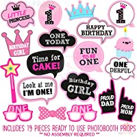 Party Propz Girls First Birthday Photo Booth Props-19Pcs(Pink Color) for 1st Bday Theme Supplies/Girl Baby Kids Combo…