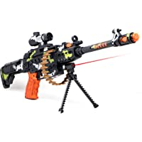 "Zest 4 Toyz 25"" Musical Army Style Toy Gun for Kids with Music, Lights and Laser Light -(Battery Included)"
