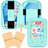 Fyy Leather Phone Card Holder Wallet, [Zipper Closure] Phone Sticker Card Holder Wallet Purse Coin Pouch Sleeve with [2 Pack]