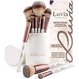 Luvia Make-up Kwasten Set, Prime Vegan Brush Set Incl. Nobele borstelhouder en satijnen zakje Voor cosmetische borstels