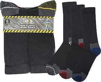 Soxy 6 Pairs Mens Heavy Duty Non Elastic Work Socks Shoe Safety/Steel Toe Boot Socks, MultiBlack/Multi, UK 6-11 (EU 39-45)