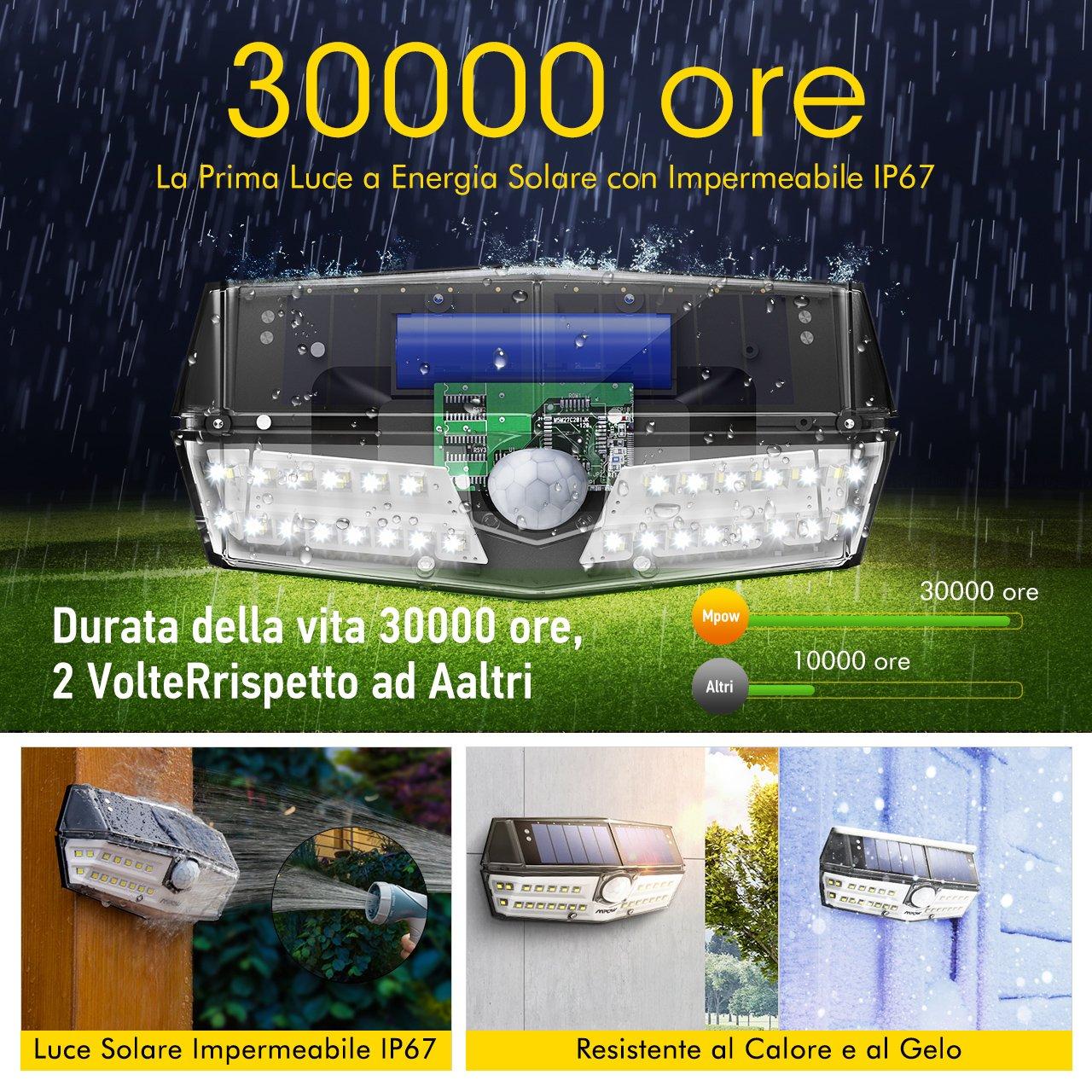 con Sensore di Movimento Luce Esterna per Giardino Solare Impermeabile IPX6