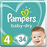 Pampers Baby-Dry Windeln Größe4 (9-14kg), Luftkanäle für atmungsaktive Trockenheit die ganze Nacht, Sparpack, 1er Pack (1 x 34 Stück)