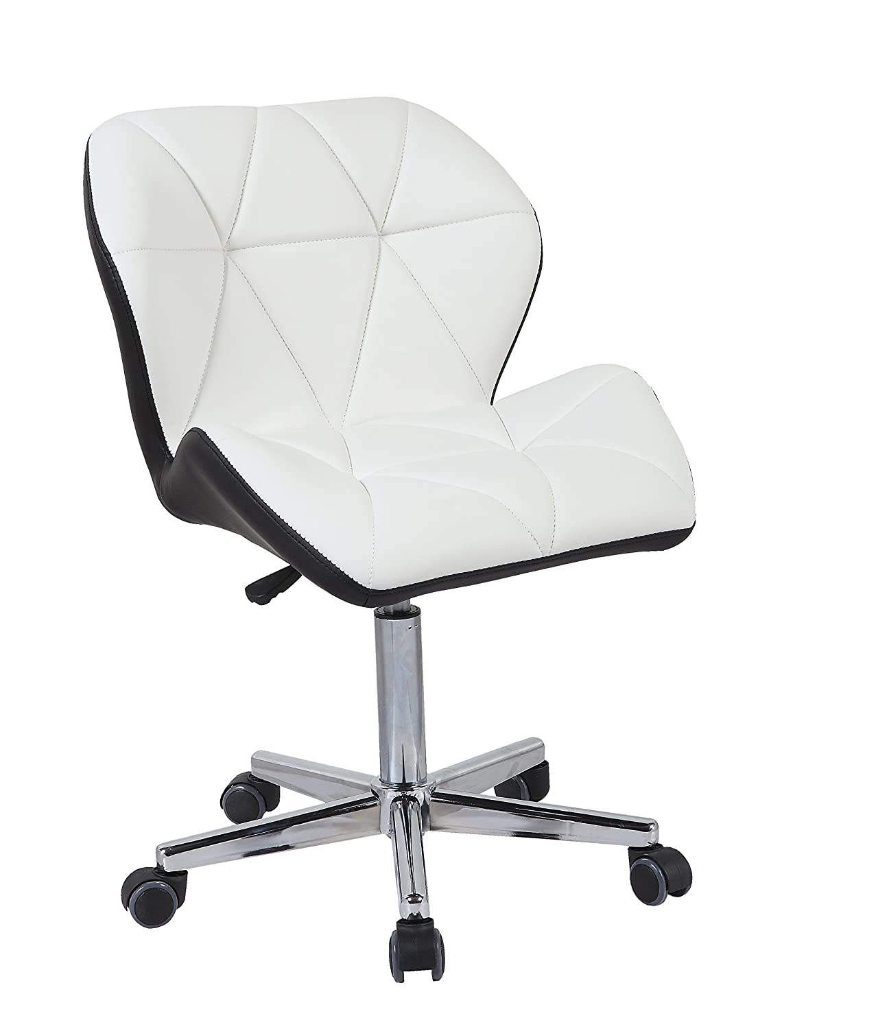 HNNHOME Modern Uranus Padded Swivel Leather Computer Desk Office Chair  Mixed Color (WHITE/BLACK): Amazon.co.uk: Kitchen U0026 Home