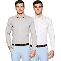 Amazon Brand - Symbol Men's Solid Loose Fit Full Sleeve Formal Shirt (Combo Pack of 2)