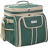 anndora Picknicktasche grün beige Kühltasche inkl. Zubehör 4 Personen 29 Teile