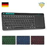 Rii K18 Plus TV Tastatur Kabellose, Funk Tastatur mit Touchpad, beleuchtet Tastatur mit 3 LED Hintergrundbeleuchtung für…