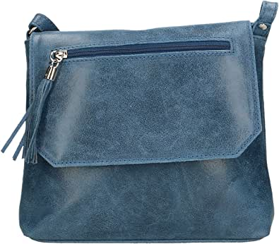 Chicca Borse Clutch Borsetta a Spalla da Donna in Vera Pelle Made in Italy - 27x24x7 Cm