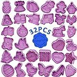 WENTS Set di 32 formine per Biscotti per Bambini formine per Biscotti con estrattore Perfetto per Biscotti di FondenteTagliab