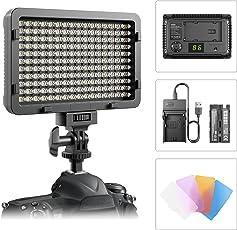Video Licht, ESDDI 176 LED Ultrahoch Dimmbare Kamera Videoleuchte Panel für Canon, Nikon, Pentax, Panasonic, Sony, Samsung, Olympus und Andere Digitale SLR-Kameras/Camcorder