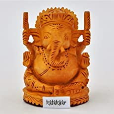 KalaKaar Hand Crafted TouchWood Ganesh idol / Ganesha idol for car dashboard / home (2.5 inch)