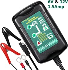 InThoor Intelligente Caricabatteria e Mantenitore di Carica automatico per Auto, Moto, con Morsetti e Clip ad Anello Staccabili, 6 V e 12 V, 1.5 Amp