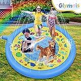 Glymnis Splash Pad Aspersor de Juego 170 cm Almohadilla de Aspersión Redonda Juguete de Verano para Niños con 2 Parches de PV