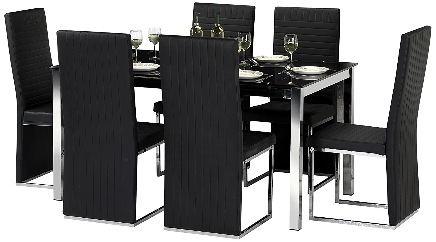 Julian Bowen Tempo Glass Dining Table Set With 4 Chairs Black