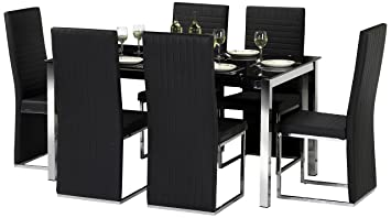 Julian Bowen Tempo Glass Dining Table Set With 6 Chairs Black Amazoncouk Kitchen Home