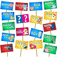 Party Propz Baby Shower Props for Photoshoot, Photo Booth, Decorations 18Pcs, Sticks Attached for Mom to Be Shoot…