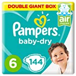 Pampers Baby-Dry Diapers, Size 6, Extra Large, 13+kg, 144 Count