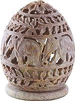 10.2 cm Candle Tealight Holder with Hand Carved Elephant & Tendrils - Votive Holders - Soapstone Elephant Figurines -...
