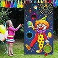 Outus Bannière de Clown Jeux de Carnaval avec 3 Sacs de Haricots Sac de Fèves de Cirque Jeu de Lancer pour Les Activités de F