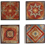 Madison Park Moroccan Tile Abstract Canvas Wall Art Bohemian Painting Home Décor, Abstract Stretched 4 Piece Set Canvas Paint