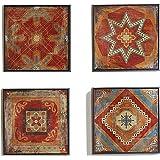 مجموعة لوحات فنية جدارية مطبوعة من القماش المغربي بتصميم بوهيمي تجريدي من 4 قطع لتزيين المنزل وغرفة المعيشة مع إطارات لتسهيل