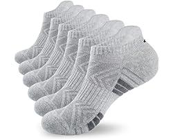 coskefy Running Socks Cushioned Trainer Socks for Men Women Ladies Anti Blister Sports Socks Cotton Ankle Socks Low Cut Athle